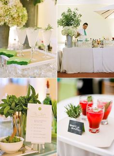 Love the idea of chalk menu cards with a splash of color underneath.