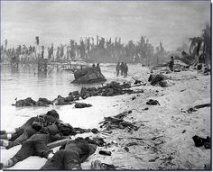 Dead bodies of American soldiers strewn on the beach of Tarawa