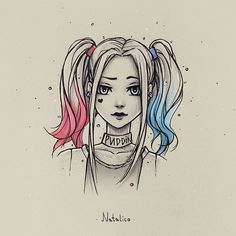 Harley Quinn from natalico on DeviantArt - . - Harley Quinn by natalico on DeviantArt – Anime Drawings Sketches, Girly Drawings, Cool Art Drawings, Pencil Art Drawings, Disney Drawings, Drawing Disney, Amazing Drawings, Harley Quinn Drawing, Cartoon Cartoon