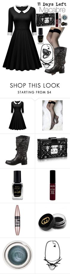"""11 Days Left: Macabre"" by darce-y ❤ liked on Polyvore featuring Stance, Valentino, Barry M, NYX, Maybelline, Gucci, Charlotte Tilbury and Antler"