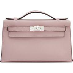 Pre-Owned Hermes Glycine Swift Kelly Pochette Clutch Bag Palladium... (196.529.095 IDR) ❤ liked on Polyvore featuring bags, handbags, clutches, glycine, brown handbags, colorful clutches, genuine leather handbags, mini purse and hermes handbags