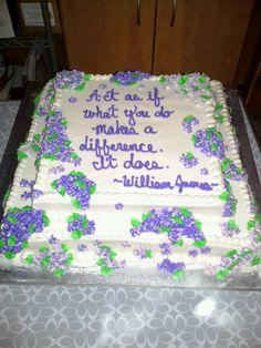 Cascading purple flower cake: top view