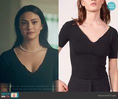 Veronica's black beaded trim top on Riverdale. Outfit Details: https://wornontv.net/80706/ #Riverdale