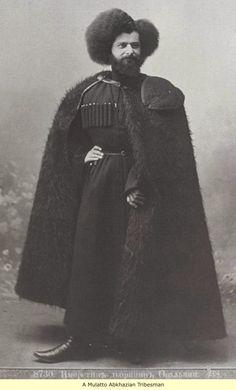 Photo of Mulatto Abkhazian Tribesman in Southern Russian in full Caucasus Regalia.
