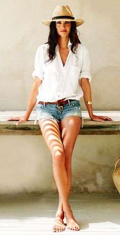 Love this casual look! Cutoff jeans, white button up shirt and straw fedora Women's spring summer fashion