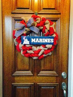 Marine Corps Burlap Wreath. $55 www.facebook.com/southerncraftstexas