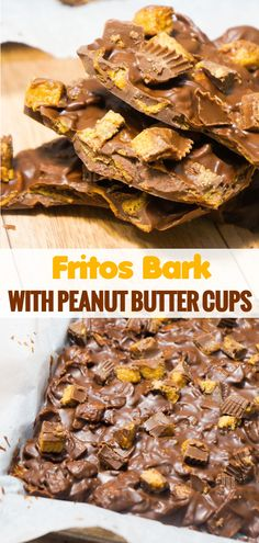 Milk chocolate bark recipe loaded with Frito's corn chips and Reese's Peanut Butter Cups. This sweet and salty no bake treat is the perfect Christmas dessert. Peanut Butter Cups, Peanut Butter Desserts, Best Dessert Recipes, Easy Desserts, Delicious Desserts, Candy Recipes, Pasta Recipes, Chocolate Crack, Chocolate Desserts