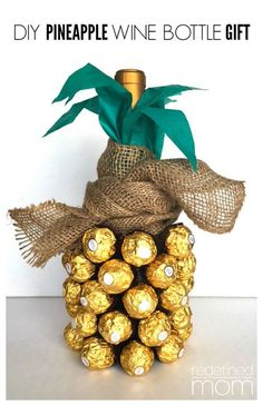 The pineapple has always been a symbol of hospitality and luxury. With this DIY Pineapple Wine Bottle Gift Tutorial, you can turn a bottle of bubbly into a Christmas hostess gift ideas that is awe inspiring.