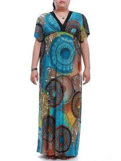 Plus Size Short Sleeve Elastic Waist Print Maxi Dress
