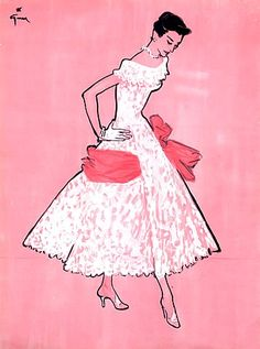 Jacques Fath lace dress with wide satin bow illustrated by Renè Gruau, Pink fashion illustration Jacques Fath, 1950s Fashion, Fashion Art, Fashion Show, Vintage Fashion, Fashion Design, Pink Fashion, Club Fashion, Fashion Moda