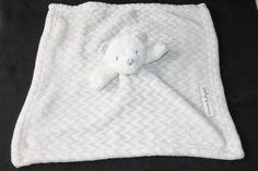 Blankets & Beyond Bear White Gray Chevron Fur Lovey Security Blanket Fluffy Toy #BlanketsBeyond