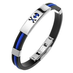 Rubber Bracelet with Skull and Crossbones cut out on Steel Plate for Men