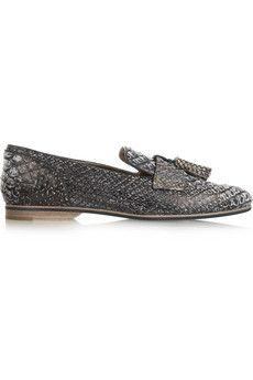 Lanvin Tasseled python loafers   NET-A-PORTER