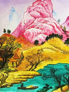 "Saatchi Art Artist Irina Afonskaya; Painting, ""Landscape with pink hill"" #art"