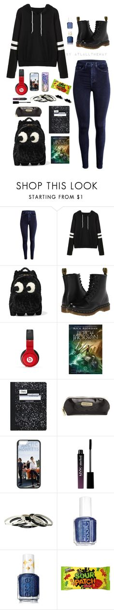 """""""#Am I A Troubled Kid? Yeah. You Could Say That."""" by atlalltheway ❤ liked on Polyvore featuring Anya Hindmarch, Dr. Martens, Nicki Minaj, Mead, Steve Madden, NYX, Hot Topic and Essie"""
