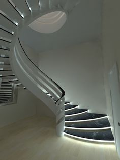Staircase Design Modern, Luxury Staircase, Interior Staircase, Curved Staircase, Modern Stairs, Interior Windows, Railing Design, Home Design Plans, Home Interior Design