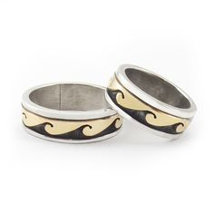 Golden Wave Wedding Bands Stormy Dark Waves With A Sky