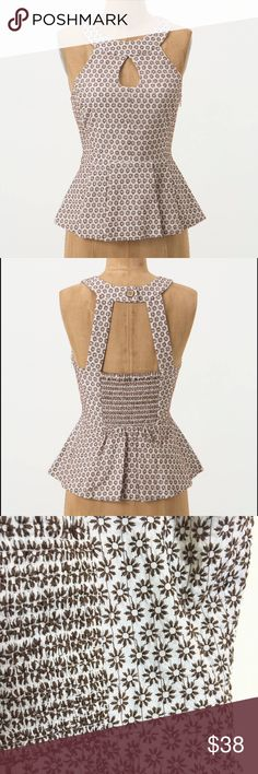 NWOT Vanessa Virginia floral halter peplum top Lovely cotton peplum halter with keyhole neckline and smocked open back. Ivory with brown embroidered flowers. Fully lined. Tried on but never worn. Anthropologie Tops