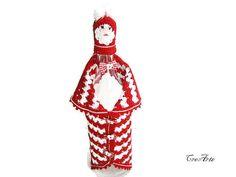 Crochet Gilet per bottiglia di vino, bottiglia di Natale copertina, copertina di Babbo Natale, accogliente vino rosso, bottiglia Decorazione Gilet (Cod. 13)