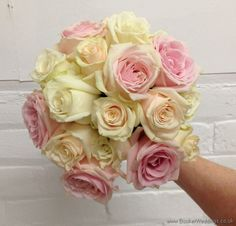 Ivory White and Blush Pink Rose Hand Tied Bridal Bouquet    Wedding Flowers Liverpool, Merseyside, Bridal Florist, Booker Flowers and Gifts, Booker Weddings