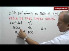 Ejercicio 3 de Porcentajes: Julio Rios explica el siguiente ejercicio: ¿De qué número es 300 el 40%?