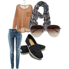 love the loose-fitting shirt and toms...and scarf!
