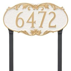 Montague Metal Products Charleston Address Plaque Finish: White/Black
