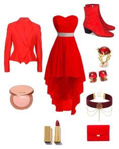 """Red rose"" by unicornwhisper on Polyvore featuring Dorateymur, Mansur Gavriel, Alexander McQueen and tarte"