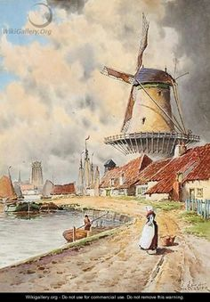 Art Drawings For Kids, Colorful Drawings, Great Paintings, Beautiful Paintings, Windmill Art, Toledo Spain, New Amsterdam, Art Van, Old Art