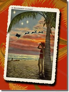 Beach Christmas cards feature a beautiful December Sunset on the beach with Santa flying over head. A tropical Christmas card inspired by vintage postcards. Cheap Christmas Cards, Company Christmas Cards, Vintage Christmas Cards, Retro Christmas, Christmas Greeting Cards, Christmas Art, Christmas Minis, Holiday Cards, Christmas Ideas