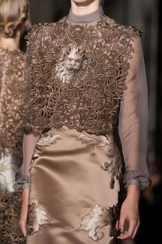 Valentino Haute Couture Fall 2013 - Details of the silk screen. Full shot of the piece below. .