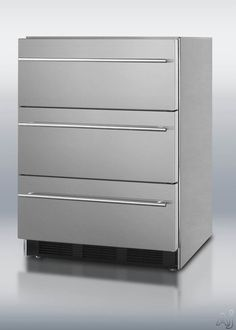"Summit SP6DSSTBTHIN7ADA 24"" Triple Drawer Refrigerator with Spring Assisted Roller Drawers, Automatic Defrost, Adjustable Thermostat, ADA Compliant and Commercially Approved: Thin Towel Bar Handles"