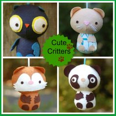 Make these adorable Cute Critter animal pals with this PDF sewing pattern. Cute Critters can be made as little toys or you can turn them into key chains for a backpack or holiday ornaments for your tree. This pattern includes an owl, a mouse, a fox, and a panda. All four animals are based on the same basic pattern pieces so once you've made one you'll be able to easily make them all. A great DIY gift to create for a child, a friend, or to make for yourself!This listing is for a ...