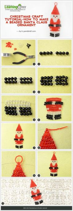 Christmas Crafts santa Christmas Craft Tutorial-How to Make a Beaded Santa Claus Ornament Beaded Christmas Decorations, Beaded Ornaments, Xmas Ornaments, Pony Bead Crafts, Beaded Crafts, Pony Bead Patterns, Beading Patterns, Christmas Jewelry, Christmas Crafts