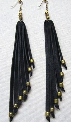 Ghost Dancer Leather and Brass Straps - Diy Leather Earrings, Leather Tassel, Leather Jewelry, Wire Jewelry, Handmade Jewelry, Feather Earrings, Drop Earrings, Jewelry Accessories, Jewelry Ideas