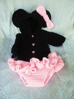 3-6 month infant Minnie Mouse Hoody Sweater and diaper cover set hand crocheted with handsculpted polymer clay buttons $45.00