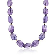 Free-Form Amethyst Bead Necklace With 14kt Yellow Gold