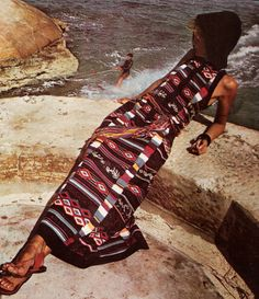 Awesome, hooded, ethnic print, beach dress from the 70's
