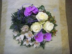 floral cluster of group of flowers and foliage design | Cluster Posy With Orchids Thistle And Roses