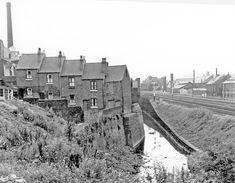 Houses at bottom of Prospect Square, Heeley, from Myrtle Road, River Sheaf and L.M.S. Railway, right, Chimney on left belongs to C.T.Skelton and Co Ltd., Sheaf Bank Location: Sheffield_Heeley Sources Of Iron, Sheffield City, Industrial Architecture, Barnsley, Derbyshire, Old Pictures, Family History, Amazing Places, Black History