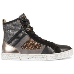 Hogan Rebel - Sneakers - R141 ($310) ❤ liked on Polyvore featuring shoes, sneakers, urban shoes, glitter trainers, monogram shoes, glitter high tops and tweed shoes