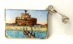 Victorian Sterling Silver & Enamel Roma Postcard Charm..
