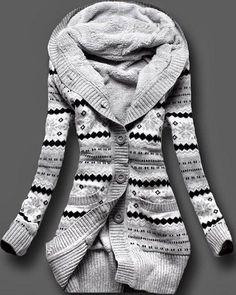 Stylish Hooded Long Sleeve Geometric Single-Breasted Cardigan For Women
