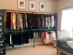 DIY Closet System Built with Pipe & Fittings (Plans Included) - Fitness Plans - Ideas of Fitness Plans - DIY Closet System Spare Room Closet, Pipe Closet, Wardrobe Closet, Master Closet, Closet Bedroom, Closet Space, Closet Racks, Dorm Room, Diy Closet System