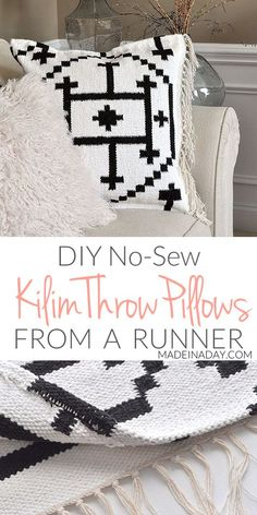 Easy Boho Kilim Pillow from a rug
