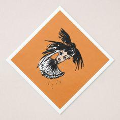 halloween fashonillustration with ravens paper dinner napkin - elegant gifts gift ideas custom presents