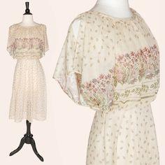 Vintage 70s Floral Dress / Sheer Floral Dress / by SkivvyLuLu, $55.00