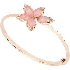 Crystal Haze Bracelet ❤ liked on Polyvore featuring jewelry, bracelets, pave bangle, clear jewelry, pink bangles, crystal jewelry and crystal jewellery