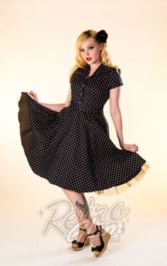 Retro Glam - Hearts and Roses Black Dot Button Down Swing Dress