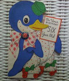 "VINTAGE 1943 DUCK WITH METAL ""I AM 6 YEARS OLD"" PIN DIE CUT BIRTHDAY CARD"